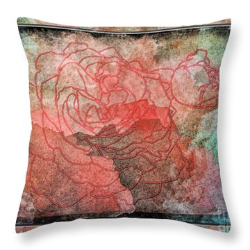 Rose Outline Abstract Throw Pillow by Debbie Portwood
