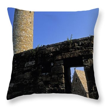 Round Tower And Chapel, Ulster History Throw Pillow by The Irish Image Collection