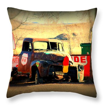 Route 66 Parking Lot Throw Pillow by Susanne Van Hulst