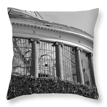Royal Conservatory In Brussels - Black And White Throw Pillow by Carol Groenen