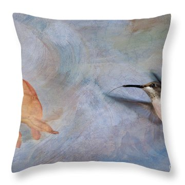 Ruby Throated Hummingbird 2 Throw Pillow by Betty LaRue