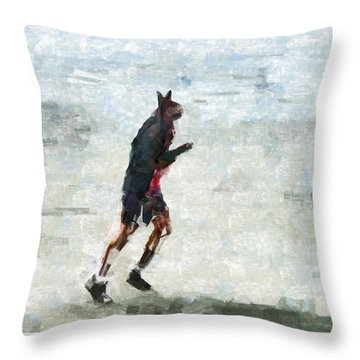 Run Rabbit Run Throw Pillow by Steve Taylor