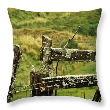 Rustic Fence Throw Pillow by Marilyn Wilson