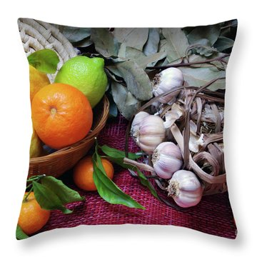 Rustic Still-life Throw Pillow by Carlos Caetano