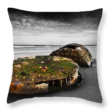 Rusty Parts Of Ship Throw Pillow by Svetlana Sewell