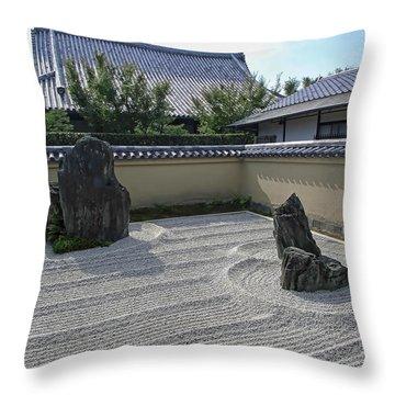 Ryogen-in Raked Gravel Garden - Kyoto Japan Throw Pillow by Daniel Hagerman