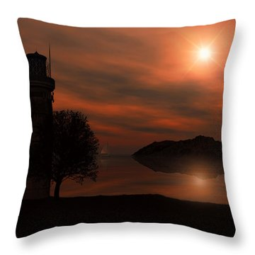 Sail At Dusk Throw Pillow by Lourry Legarde