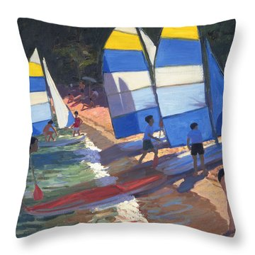 Sailboats South Of France Throw Pillow by Andrew Macara