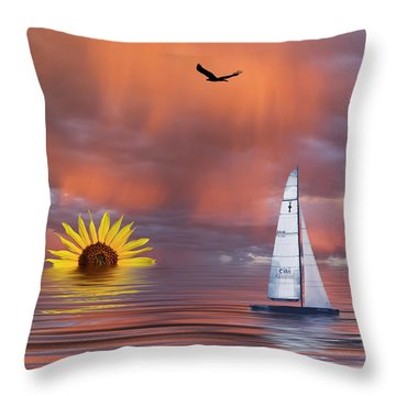 Sailing At Sunset Throw Pillow by Shane Bechler