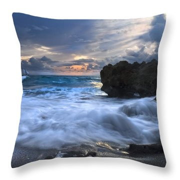 Sailing On The Silk Blue Sea Throw Pillow by Debra and Dave Vanderlaan