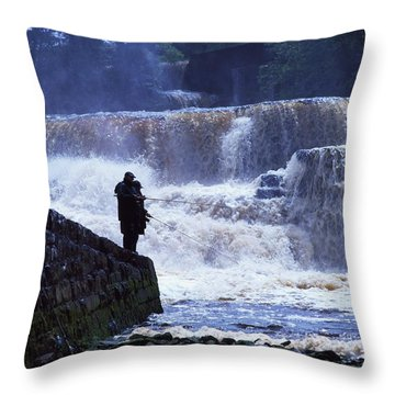 Salmon Fishing, Ballisodare River, Co Throw Pillow by The Irish Image Collection