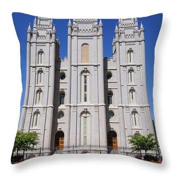 Salt Lake Mormon Temple Throw Pillow by Gary Whitton
