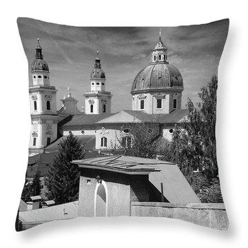 Salzburg Black And White Austria Europe Throw Pillow by Sabine Jacobs