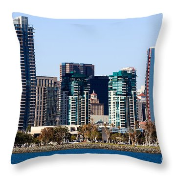 San Diego California Skyline Throw Pillow by Paul Velgos