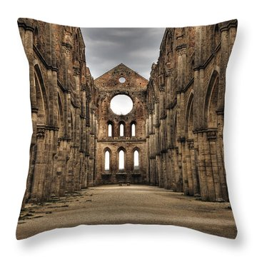 San Galgano  - A Ruin Of An Old Monastery With No Roof Throw Pillow by Joana Kruse