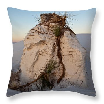 Sand Pedestal With Yucca Throw Pillow by Greg Dimijian