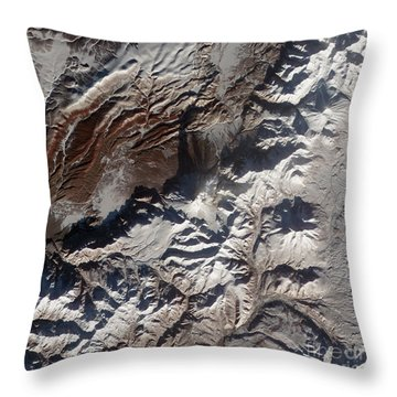 Satellite Image Of Russias Kizimen Throw Pillow by Stocktrek Images