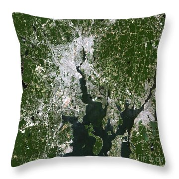 Satellite View Of The Pawtucket Throw Pillow by Stocktrek Images