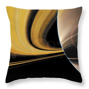 Saturn Glory Throw Pillow by Don Dixon