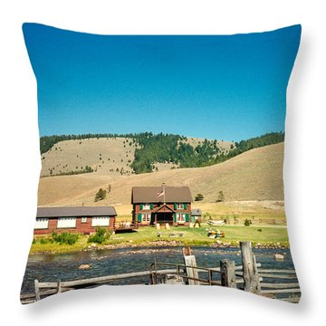 Sawtooth Mountains Campsite Throw Pillow by Douglas Barnett