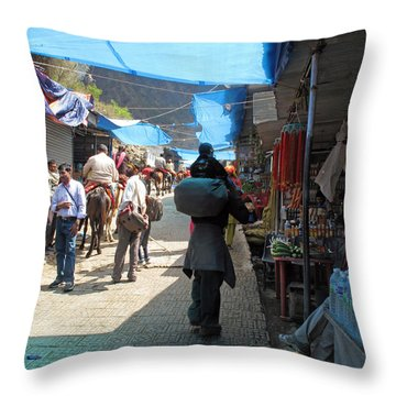Scene At The Climbing Path Leading To The Vaishno Devi Shrine In Jammu And Kashmir State In India Throw Pillow by Ashish Agarwal