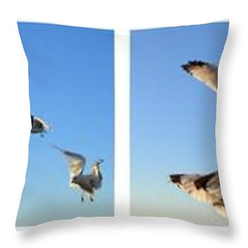 Seagull Collage Throw Pillow by Michelle Calkins