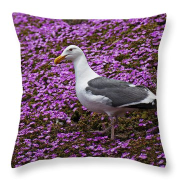 Seagull Standing Among Flowers Throw Pillow by Garry Gay