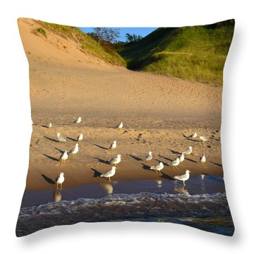 Seagulls At The Bowl Throw Pillow by Michelle Calkins