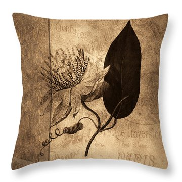 Sepia Botanical Throw Pillow by Bonnie Bruno