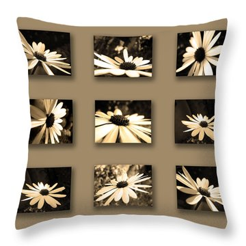 Sepia Daisy Flower Series Throw Pillow by Sumit Mehndiratta
