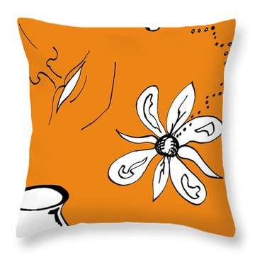 Serenity In Orange Throw Pillow by Mary Mikawoz