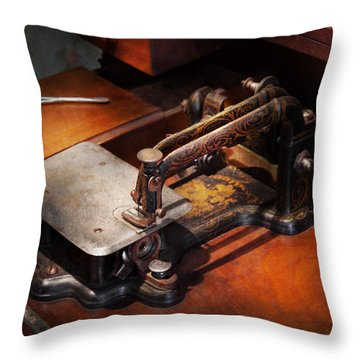 Sewing Machine - Sewing For Small Hands  Throw Pillow by Mike Savad