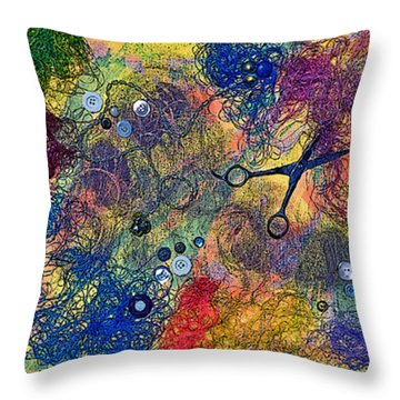 Sewing With Mom Throw Pillow by Gwyn Newcombe