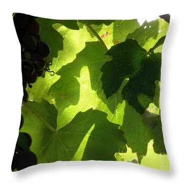 Shadow Dancing Grapes Throw Pillow by Lainie Wrightson