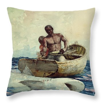 Shark Fishing Throw Pillow by Winslow Homer