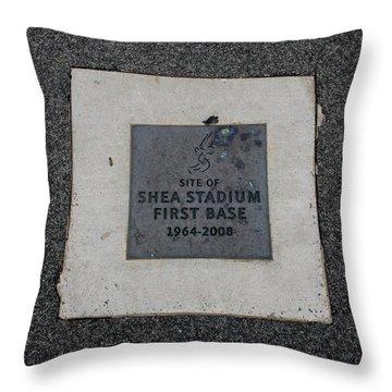 Shea Stadium First Base Throw Pillow by Rob Hans