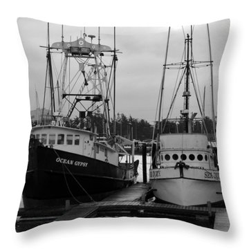 Ships At Anchor Throw Pillow by Jeff Lowe