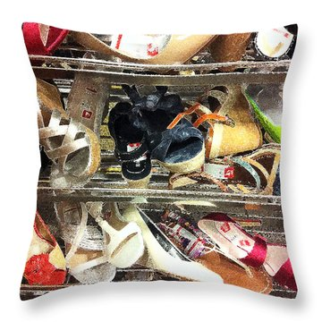 Shoe Sale Throw Pillow by Donna Blackhall
