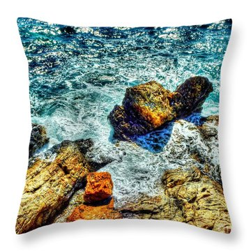 Shores Of The Aegean Throw Pillow by Michael Garyet