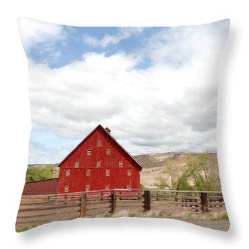 Shutters Red Throw Pillow by Sara Stevenson