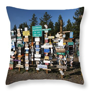 Sign Posts Forest In Watson Lake Yukon Throw Pillow by Mark Duffy
