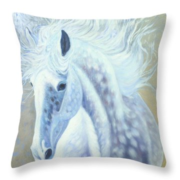Silver Mare Throw Pillow by Gill Bustamante