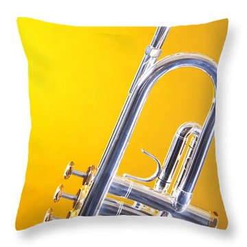 Silver Trumpet Isolated On Yellow Throw Pillow by M K  Miller