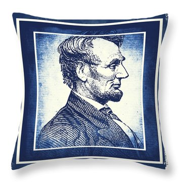 Sixteenth President Blue Throw Pillow by Angelina Vick