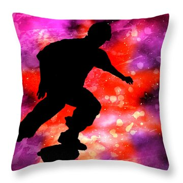 Skateboarder In Cosmic Clouds Throw Pillow by Elaine Plesser