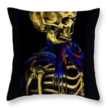 Skeleton Fashion Victim Throw Pillow by Tylir Wisdom