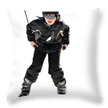 Skier Flying Throw Pillow by Susan Leggett
