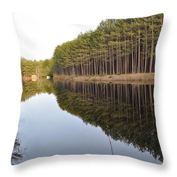 Skinny Trees Throw Pillow by Luke Moore
