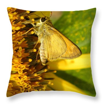 Skipper And Sunflower Throw Pillow by Sandi OReilly