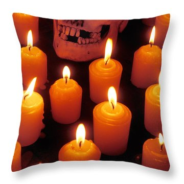 Skull And Candles Throw Pillow by Garry Gay
